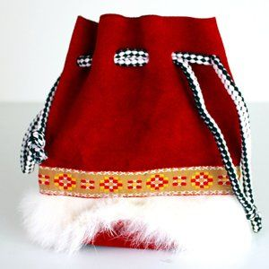 Christmas Drawstring Fluffy Leather Pouch Bag